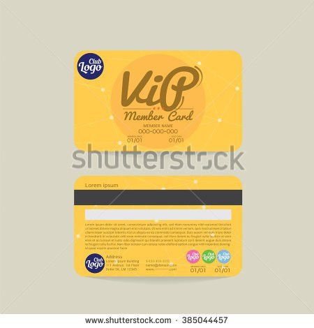 Front Back Vip Member Card Template Stock Vector 385044457 ...
