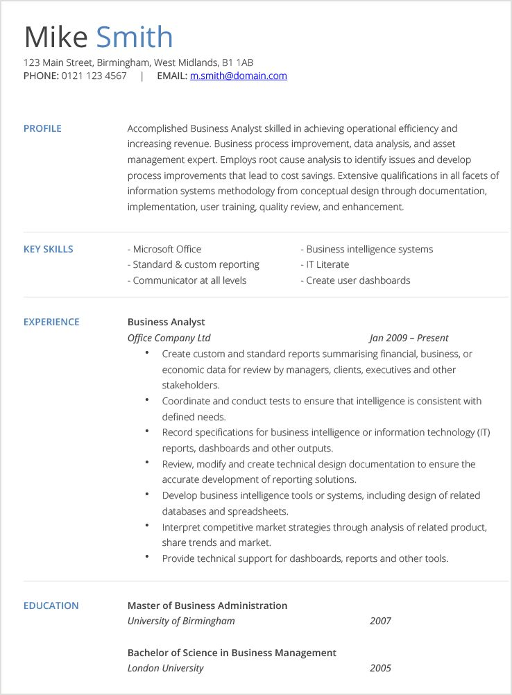 Business Analyst CV Example | Hashtag CV