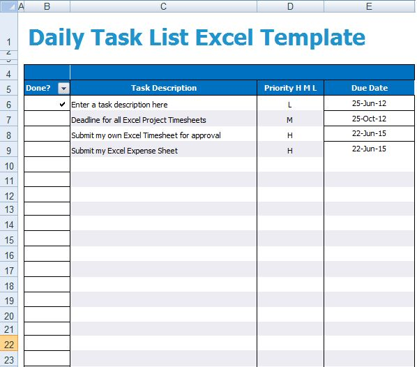 daily task log template
