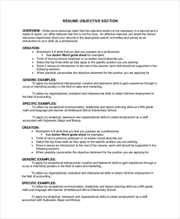 Sample Resume Objective Example - 7+ Examples in PDF