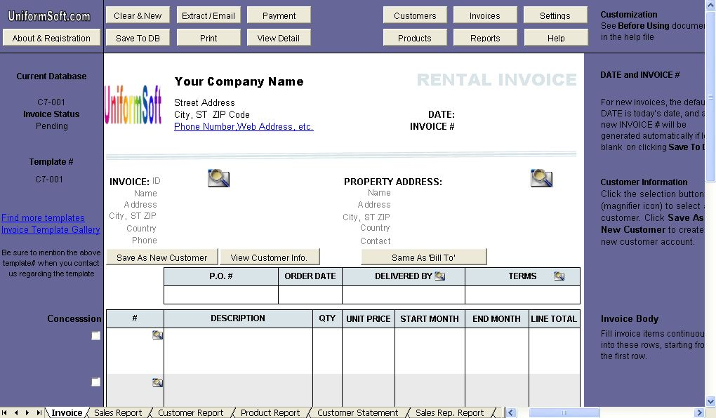 Rental Invoice Template - Uniform Invoice Software