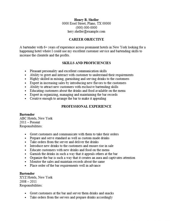 Server Bartender Resume | haadyaooverbayresort.com