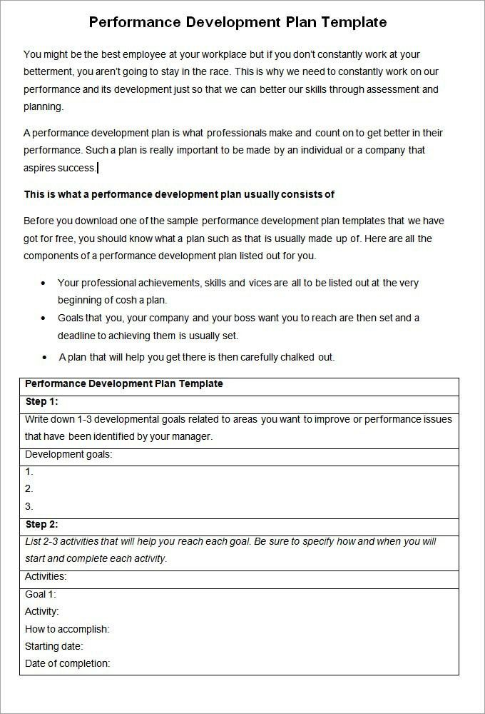 Performance Development Plan Template - Development Plan Template ...