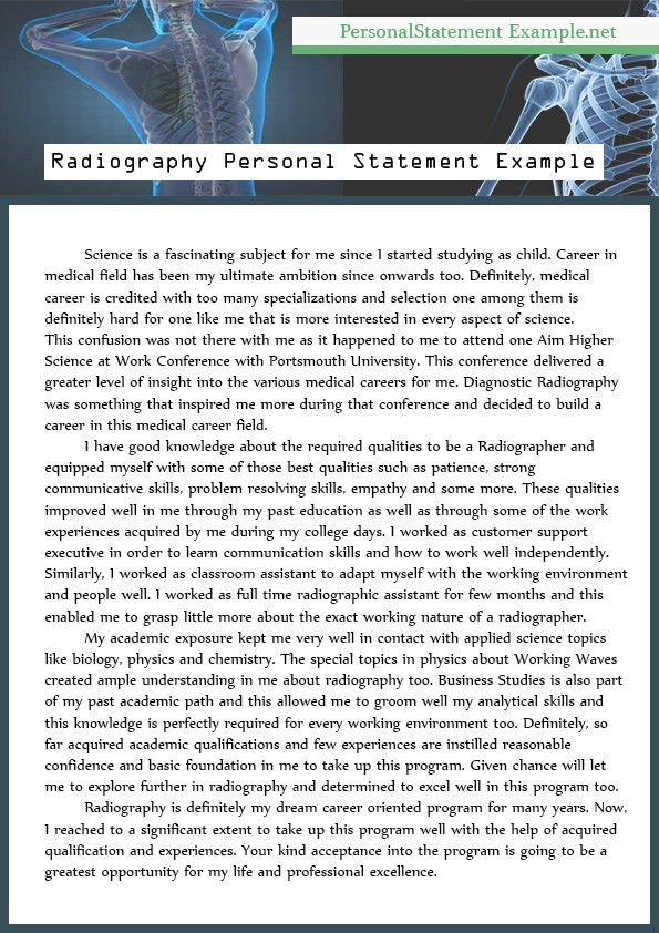 Example of Best Radiography Personal Statement | Personal ...