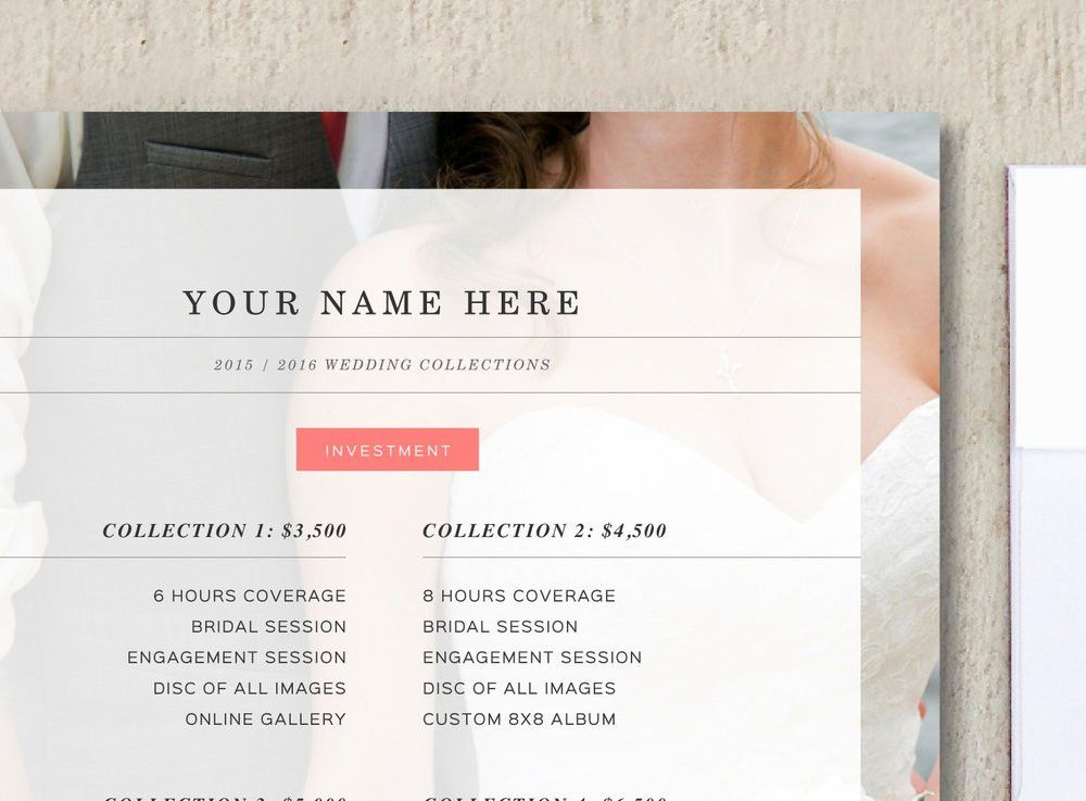 Photography Pricing Template- Wedding Price List Template ...