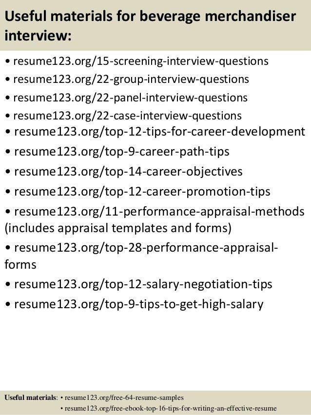 Top 8 beverage merchandiser resume samples