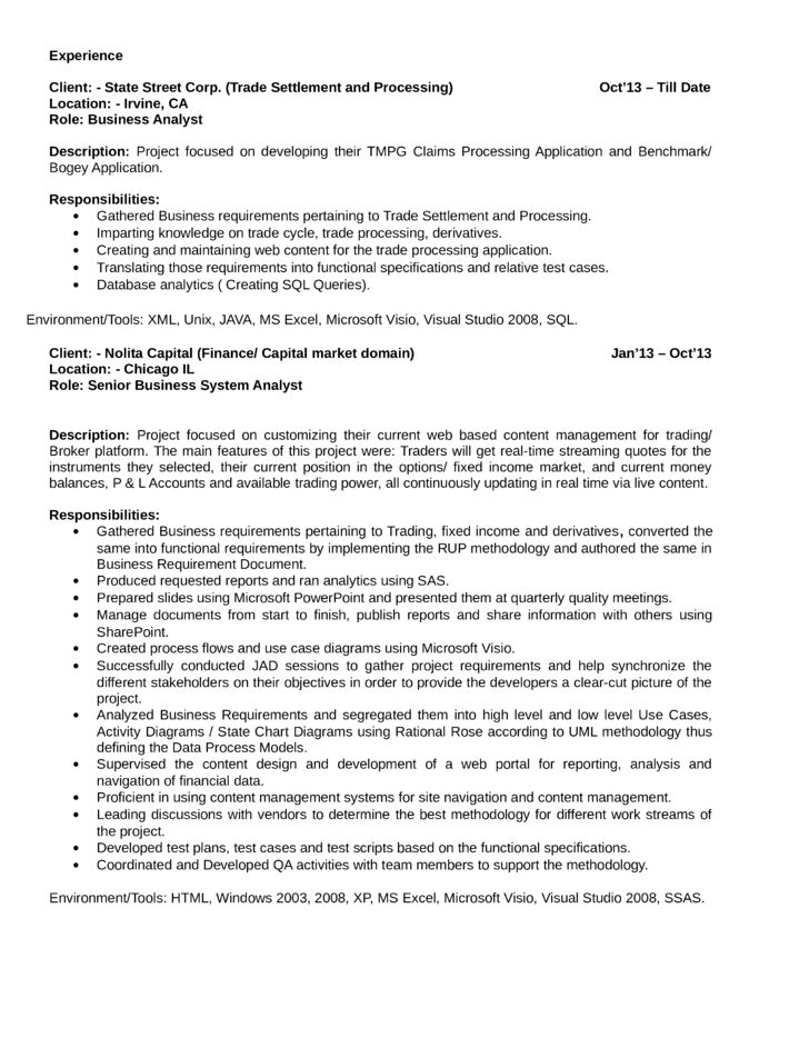 sample resume quantitative analyst 3. senior financial analyst ...
