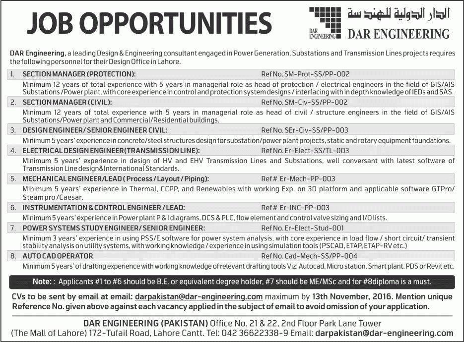 Dar Engineering Lahore Jobs October 2016 Civil / Mechanical ...