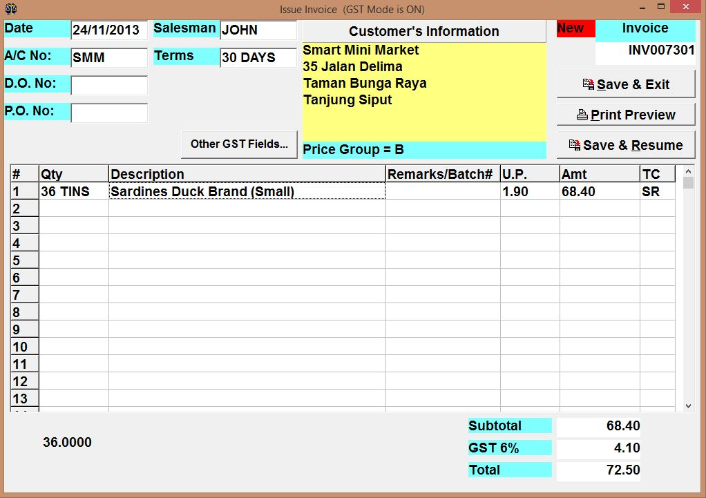 Using Invoice, Debit Note, Credit Note and Purchase Order subsystems