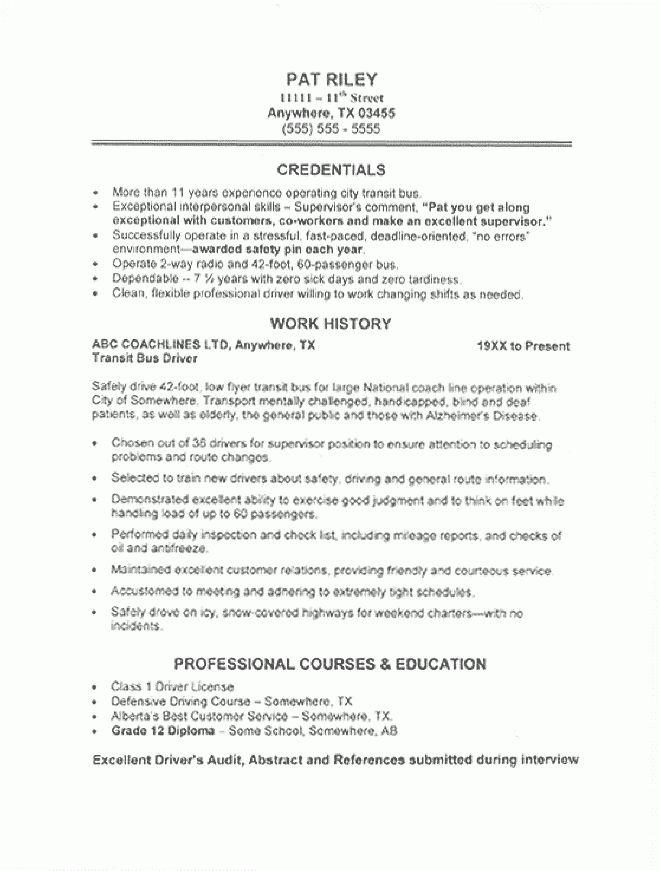 Transportation Resume Sample - All Trades Resume Writing Service