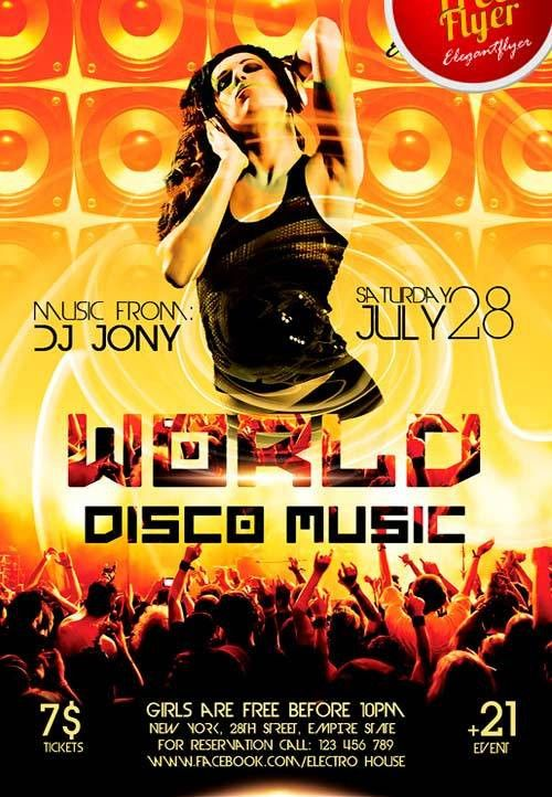 Free World Disco Music PSD Flyer Template - http://freepsdflyer ...