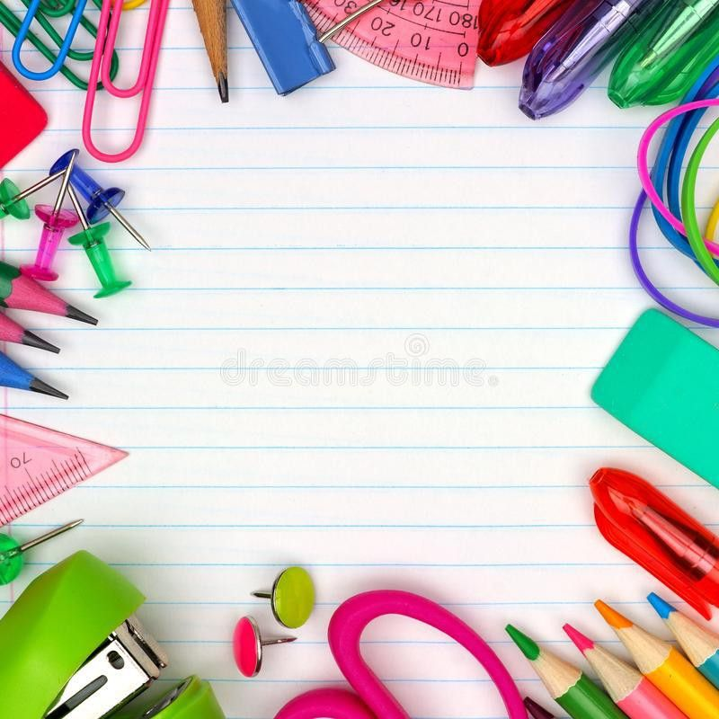 School Supplies Square Frame On Lined Paper Background Stock Photo ...