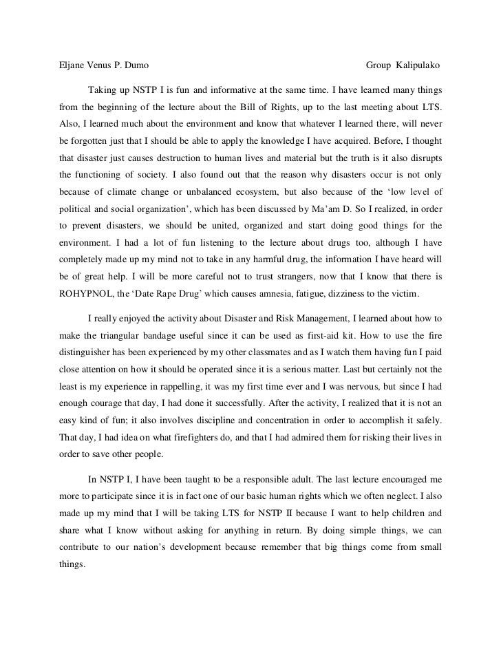 Nstp reflection paper essay: The National Service Training Program ...