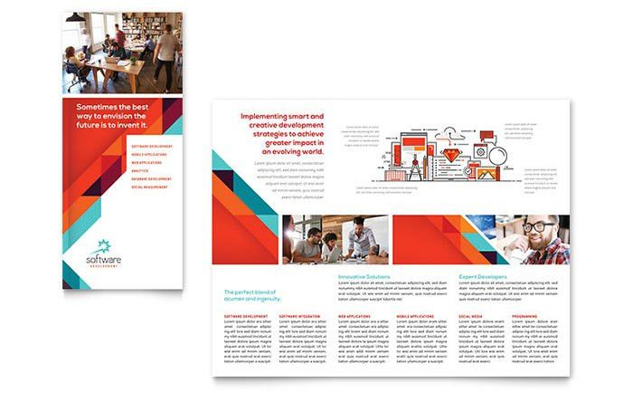 Application Software Developer Tri Fold Brochure Template Design