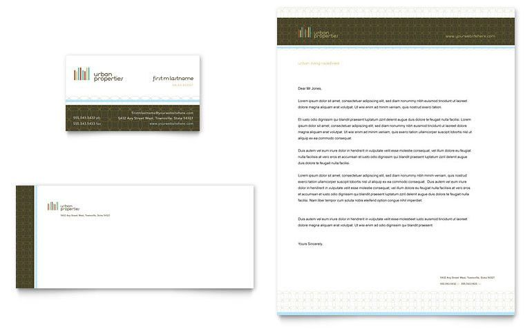 Urban Real Estate Business Card & Letterhead Template - Word ...