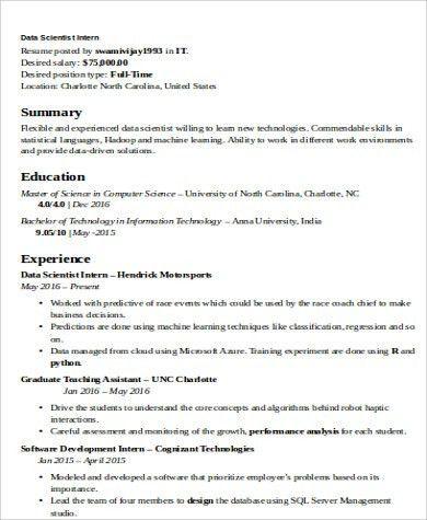 Fantastic Data Scientist Resume Example 1 Data Analyst Resume ...