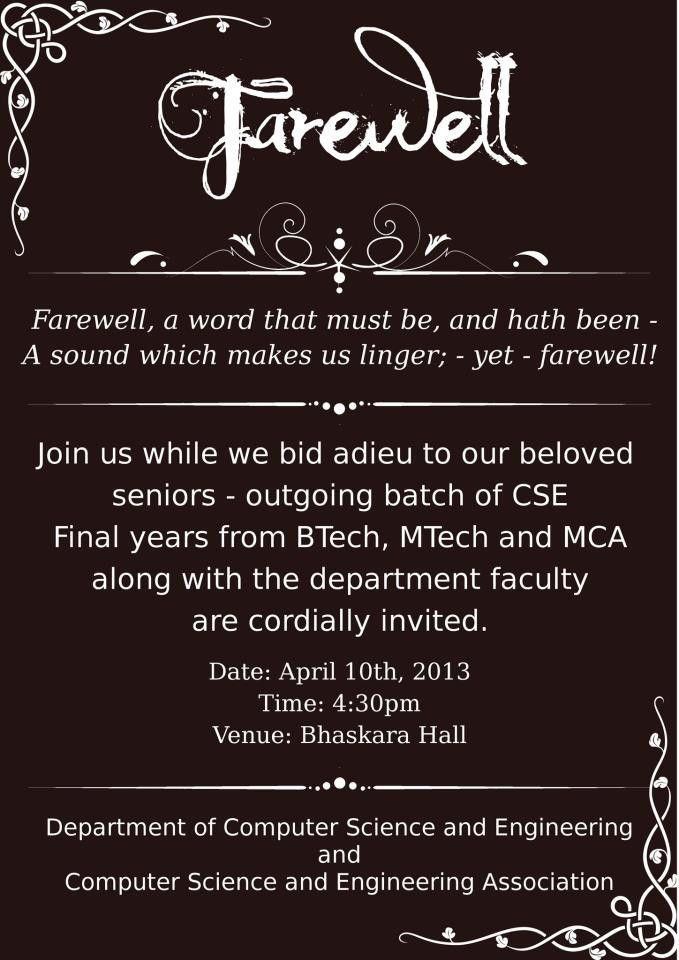 Fare Well Party Invitation Wording