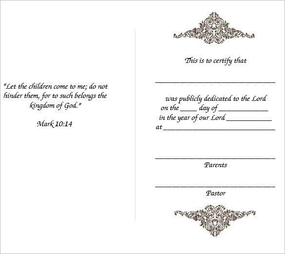 baby dedication certificate template free. baby dedication ...