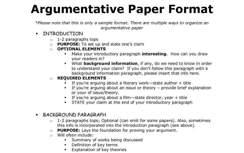 Outline for argumentative essay mla