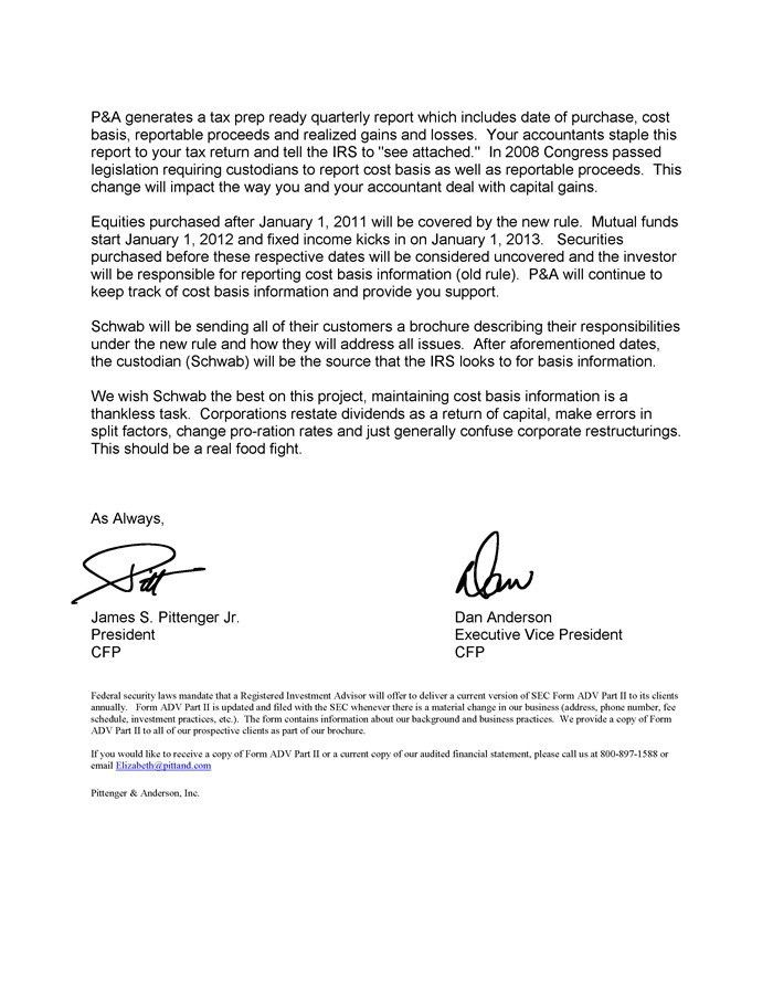 2010 3Q Quarterly Letter - Pittenger & Anderson, Inc.