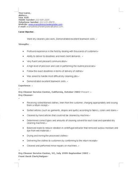example of resume for cleaning job samplebusinessresumecom