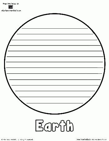 Planet Earth Printable Outlines and Shape Book Writing Pages | A ...