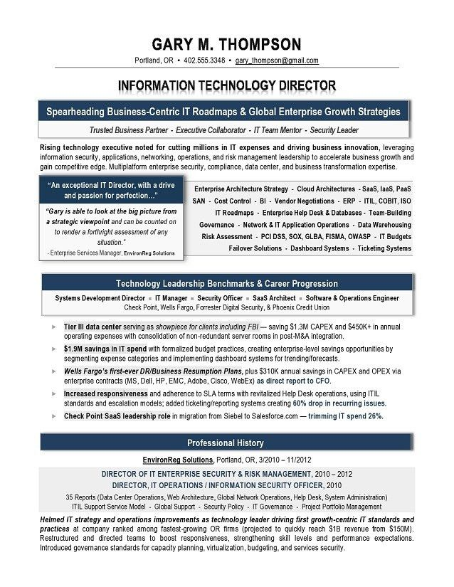 it manager cv example. sample technology resume template sample it ...