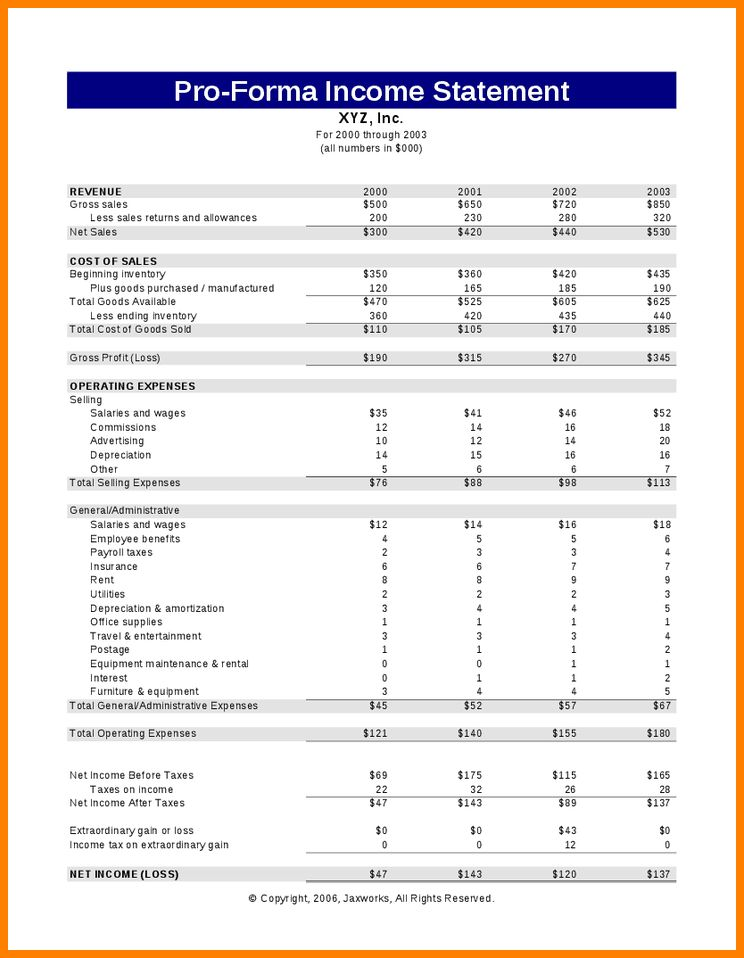 9+ pro forma income statement template | Statement Information