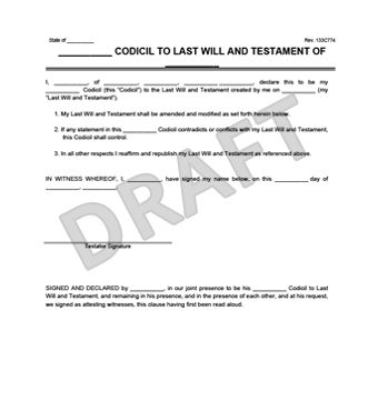 Create a Free Codicil to Will | Download & Print | Legal Templates