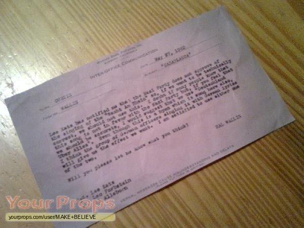 Casablanca Inter Office Communication May 27, 1942 copy replica ...