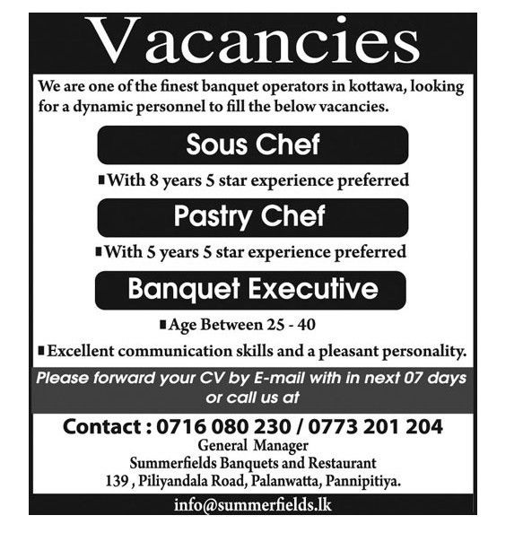 Sous Chef,jobs vacancies in sri lanka, top jobs,Summerfields ...