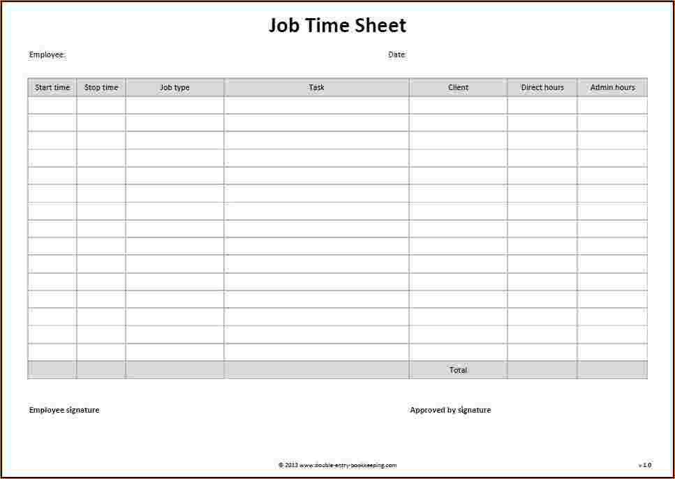 5+ time sheet templates | Outline Templates