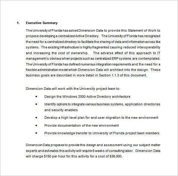 sample statement of work