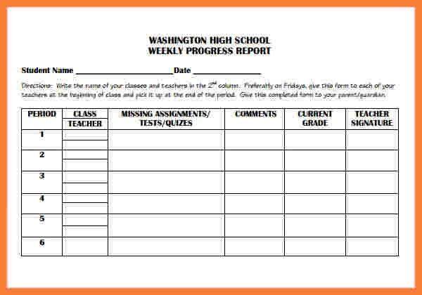 5+ weekly progress report template elementary | Progress Report