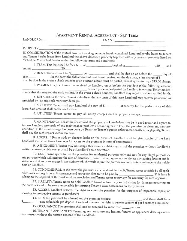 Lease Agreement Template Word : Apartment Lease Templates. Blank ...