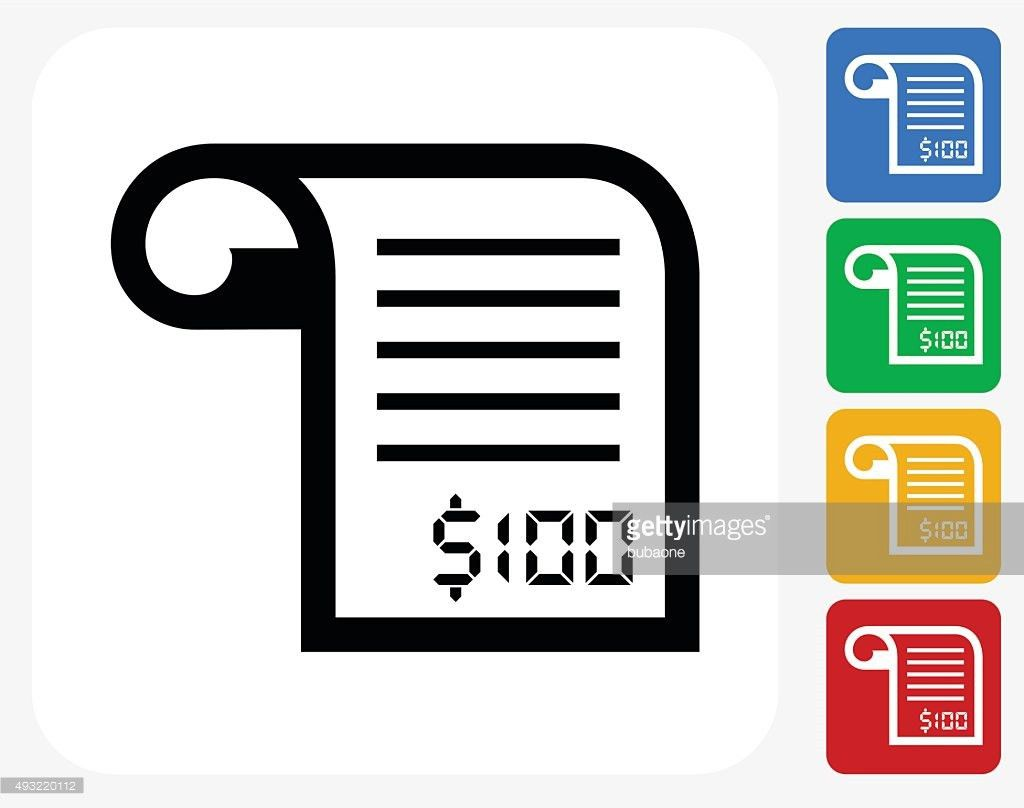 Money Receipt Icon Flat Graphic Design Vector Art | Getty Images