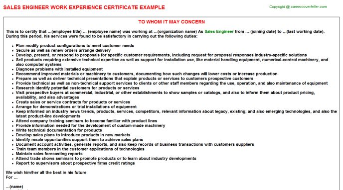 Sales Engineer Work Experience Certificate
