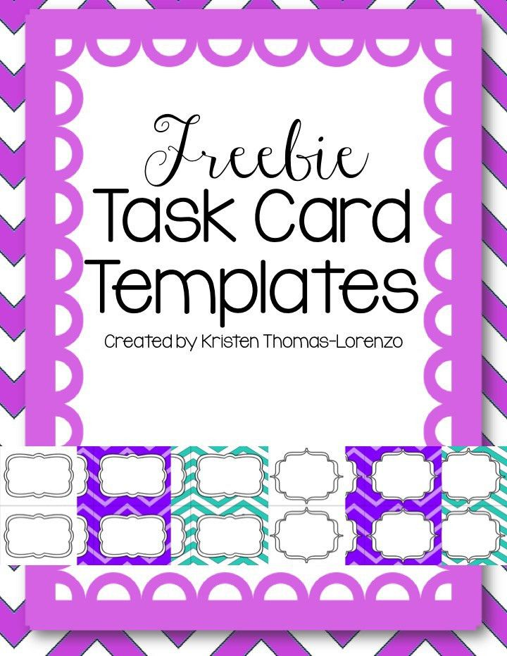Download these free task card templates to use in your free and ...