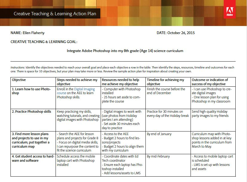 Creative Teaching & Learning Action Plan - Template and Sample ...