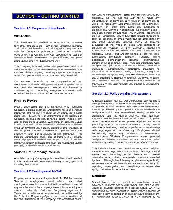 Employee Handbook Template - 12+ Free Sample, Example, Format ...