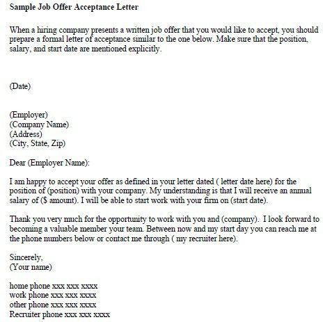 Sample Teacher Job Offer Letter
