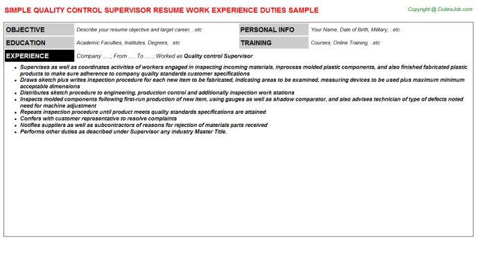 quality control supervisor resumes