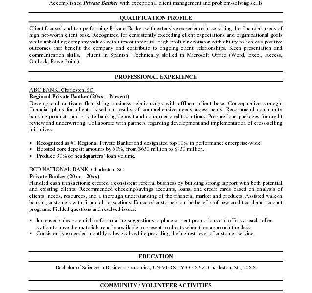 sample personal banker resume professional personal banker resume