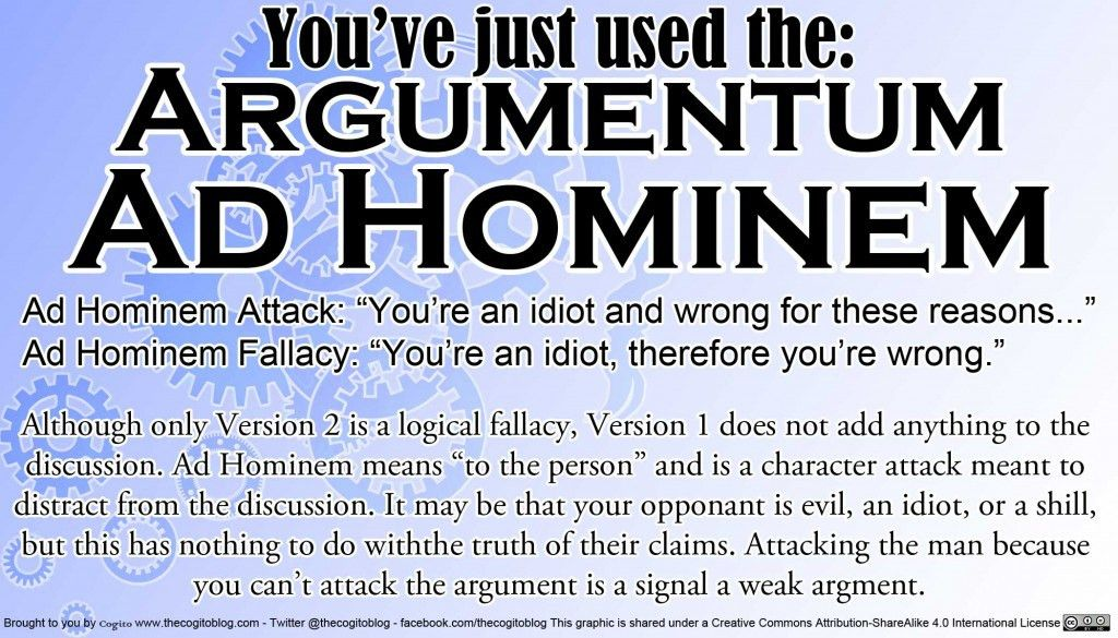 Logical Fallacy Card: Argumentum Ad Hominem | Cogito