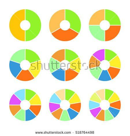 Set Colored Pie Charts Templates Sectoral Stock Vector 518764375 ...