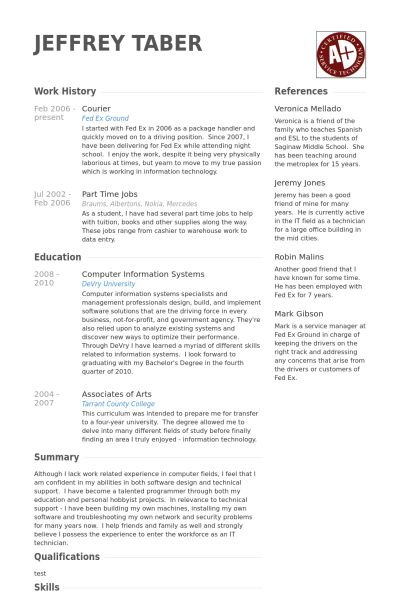 Courier Resume samples - VisualCV resume samples database