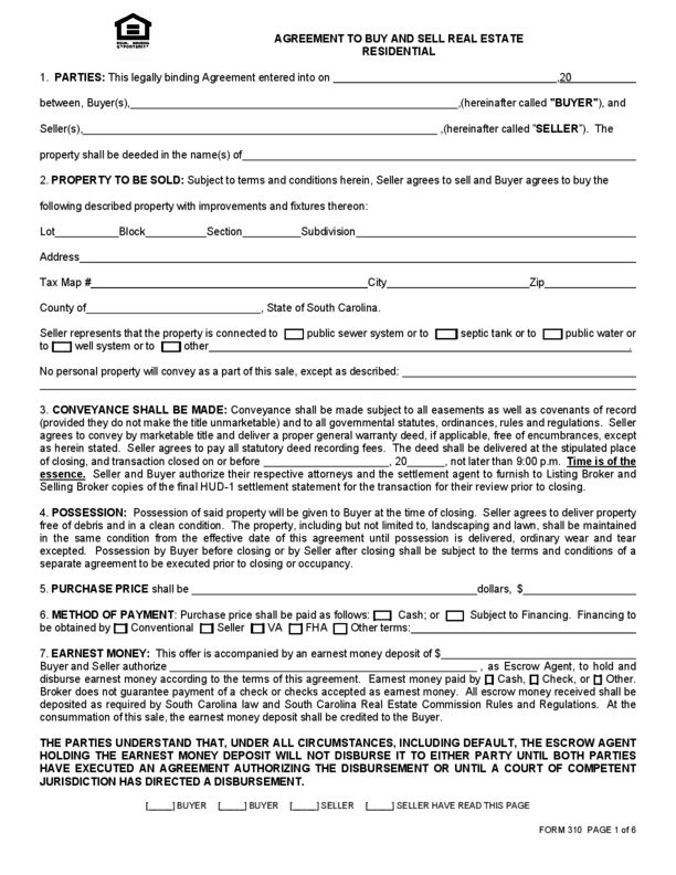 Home purchase agreement form free