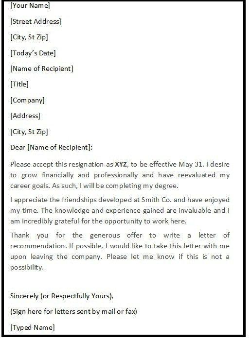 Polite Resignation Letter Sample - Resignation Letters Sample