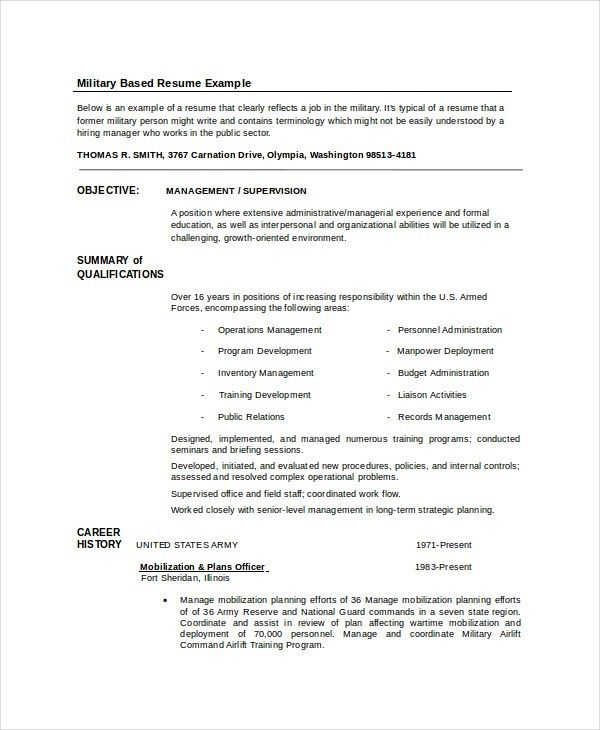 military resume format