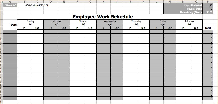 5+ work schedule templates | Outline Templates